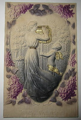 Antique Vtg German Heavily Embossed Valentines Day Postcard Cupid Lady Mail Box
