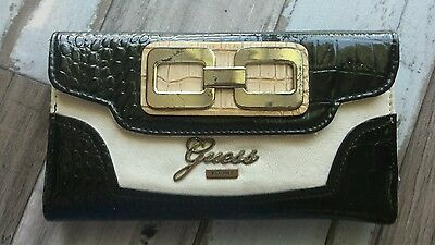 Guess Wallet - black/beige white