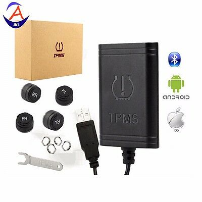 USB TPMS Wireless Bluetooth With 4 External Sensors For IOS Android Cellphone