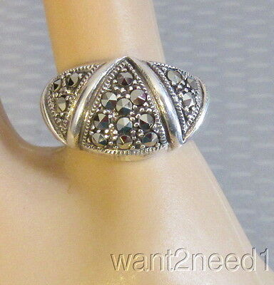 deco style zigzag vtg STERLING SILVER MARCASITE DOME RING sz 6 signed A925