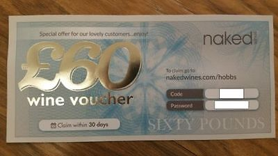 New £60 Wine Voucher for Naked Wines - Gives you £60 off a £99.99 minimum order