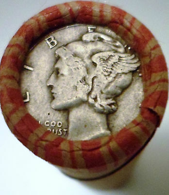 Old Estate Coins - Mercury Dime And Indian Shows On Unsearched Wheat Roll #f2
