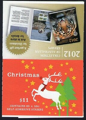 2012 CHRISTMAS AUSTRALIAN STAMP BOOKLET (REINDEER & GIFTS) 20 x 55c STAMPS MUH