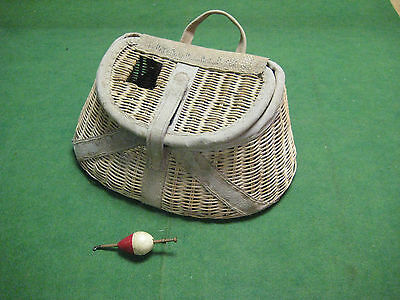 Creel Fishing Basket with old Wooden Bobber ~ Decorative