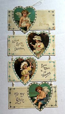 1909 4-Panel Hanging Valentine's Day Card w/ Angels and Victorian Style Girls