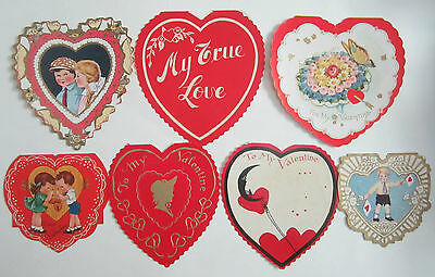 7 Vtg 1920s 30s 40s Heart Shaped Valentine Whitney A-Meri Card Kids Cupid Moon