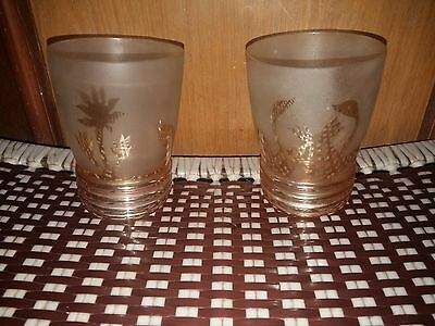 Old Vintage Rare Carnival Pair Frosted Etched Water Tumblers ( India )