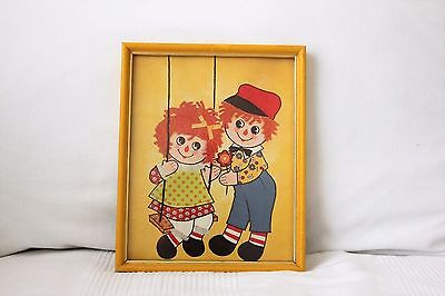 Vintage Wooden Flamed Raggedy Ann and Andy Print Pictures Kids Baby Room