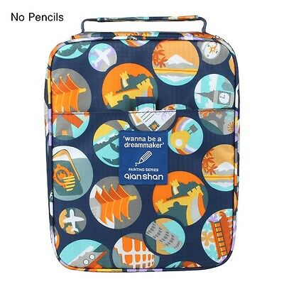 Portable Zippered Colored Pencil Case Travel Journey Daily Pencil Bag Pouch