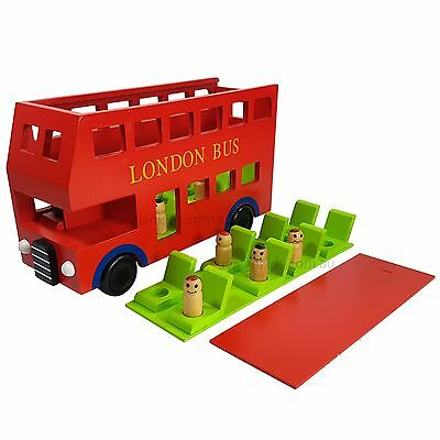 Kids Wooden Bus Red London Double Decker Bus Educational Toy Childrens