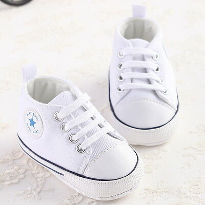 NewBorn Girls Boy Toddler Soft Sole Baby White Cloth Shoes Crib Prewalker Size 1