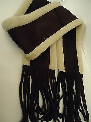 Ladies Fownes Faux Shearling,Suede Fringed Scarf, O/S