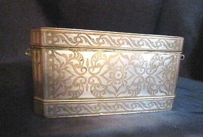 Antique 19Th Cen Betel Nut Box Gorgeous Brass With Silver Inlay Very Good! Box C