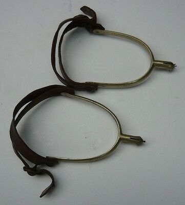 Pair of vintage/antique riding spurs. Steel. Leather in excl condition