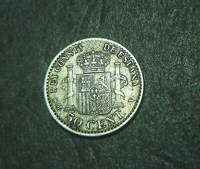 1904 Spain 50 cent, silver,