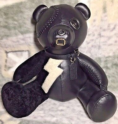 """COACH F55359 OUTLAW BLACK PEBBLED Leather 15"""" BEAR  RARE COLLECTIBLE LTD EDITION"""