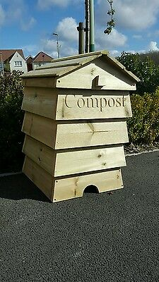 Stunning Beehive Compost Bin Wooden Garden Composter Recycling Bin storage