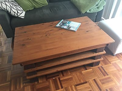 beautiful solid wood coffee table modern rustic style with 2 shelves
