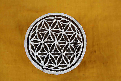 Round Shape Wooden Printing Block Indian Wood Stamps Decorative Fabric Print