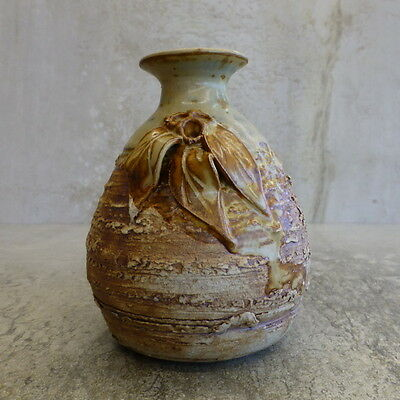 Potters Wheel Vase Australian Pottery signed 11cm tall Gum Leaves Gum Nuts Retro