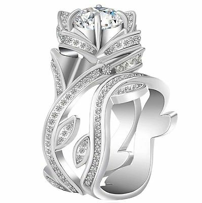 Fashion Women 925 Silver Lotus Flower White Topaz Ring Wedding Jewelry Size 6-12