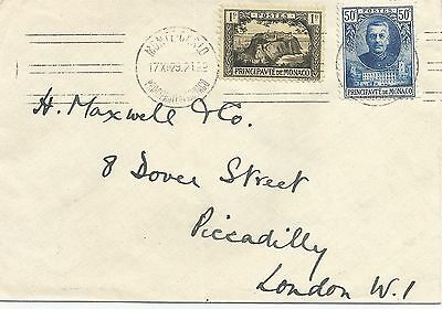 MONTE CARLO MONACO 1929 COVER WITH 1f +50c TO LONDON REF 431