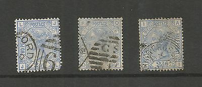 QUEEN VICTORIA 1880-83 2½d BLUE PLATES 21,22 AND 23 USED REF 21