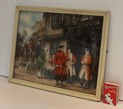 Hunt Horse Scene Picture Hounds Riders Hang 21 x 26cm Cream Frame Glass Art Deco