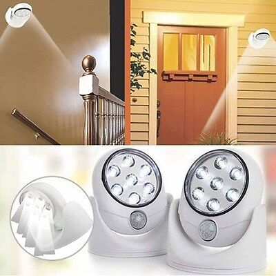 7 LED Wireless Cordless Motion Sensor Light 360° Indoor Outdoor Wall Patio Lampe