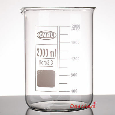 2000mL Borosilicate Glass Beaker,2L Low Form,Spout Mouth,Borosilicate Labware