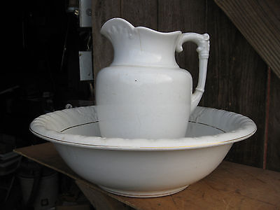 Antique 1800's E.B.P Co. Wash Bowl and Water Pitcher