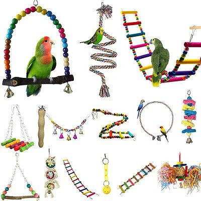 Colorful Parrot Swing Bird Toy Nest Bed Rope Cage Toys Parakeet Cockatiel Budgie