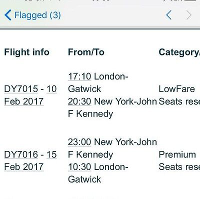 2 X Direct Flights To New York From LDN Gatwick. 10th Feb-15th Feb