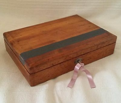 Vintage Antique Wooden Writing Box With Removable Tray Empty Ink Pot And Key