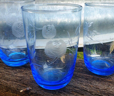 VIntage Retro Etched Blue Glasses - Rose design x 3 water tumblers