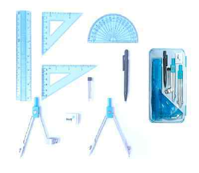 9 Piece Blue School Maths Geometry Stationery Set. Compass, ruler & lots more