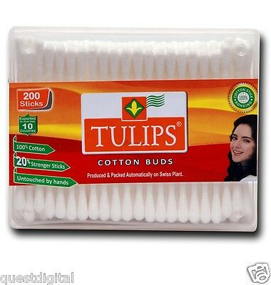 200 Tulip Cotton Ear Swabs Ear Buds Applicator Ear Cleaning Makeup Swab Sticks