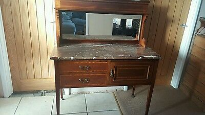 Antique Washstand. Inlaid Mahogony with marble top. Edwardian.