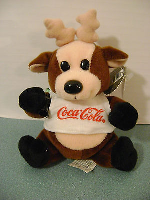 Coca Cola Bean Bag Plush Reindeer in Shirt 1997 New + Tag Style #0133