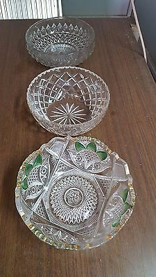 3 Crystal and glass bowls