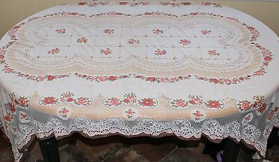 Vintage Rose Pattern Dyed Lace Tablecloth Pink Brown Floral Brown Pink