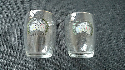 Two glasses from the 1956 Australian Melbourne Olympic Games souvenir, tumblers