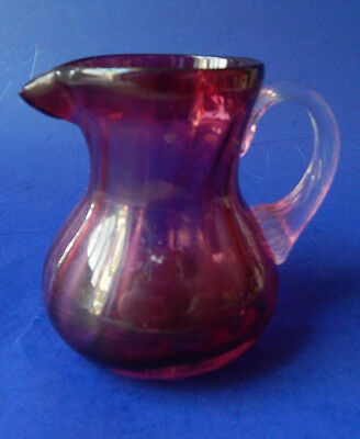 Cranberry Glass Pitcher - Creamer Applied Clear Handle 3.5""