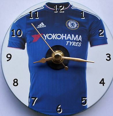 Football cd clock with Chelsea shirt on clock face with stand