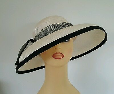 Ladies Occasion Wedding Races Mother Bride Hat Off White & Black by Bermona