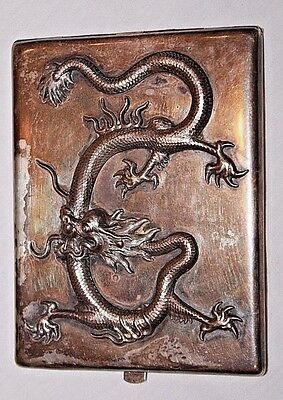Antique Chinese Silver Cigarette Case with Dragon Detail & Hallmarks