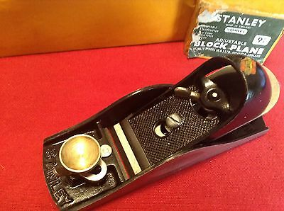 Vintage Stanley No 9 1/2  Block Plane Adjustable Throat Boxed in Good Condition