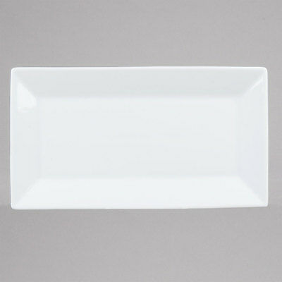 "12 NEW 11 1/2"" x 6 1/4"" Bright White Restaurant Rectangle China Plates Platters"