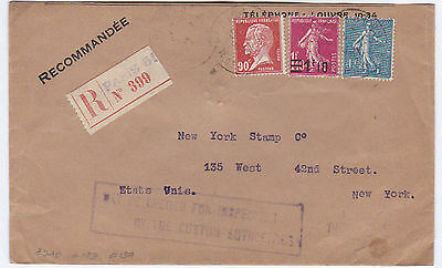 France 1927 Cover To New York, Opened By Customs, With Blank Customs Form.