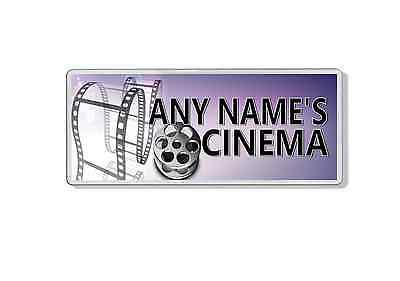 Any Name Cinema Door Sign / Plaque / Add any Name - Man Cave - Film Reel